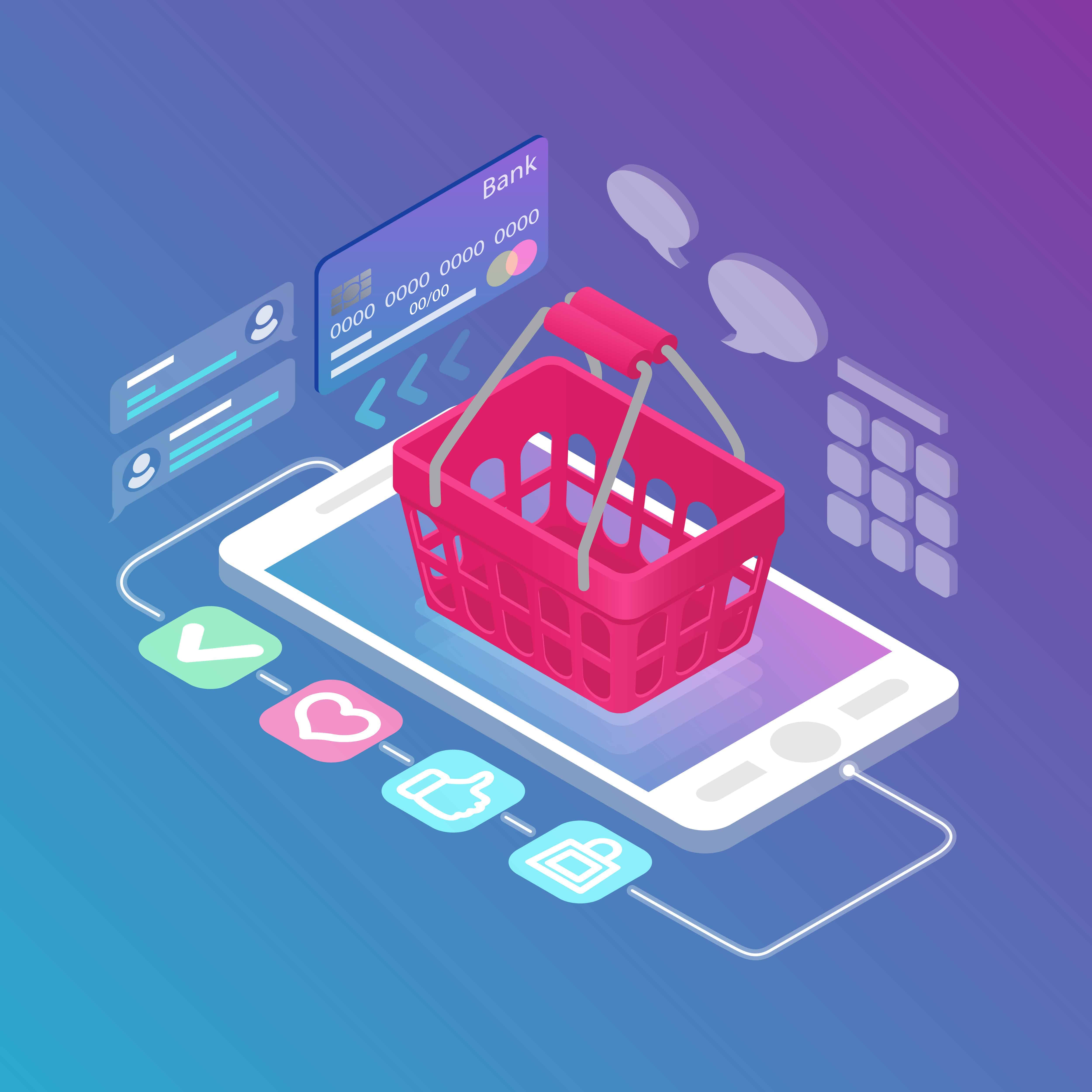 Ecommerce example with a shoping cart on a mobile phone screen - eCommerce and eShops