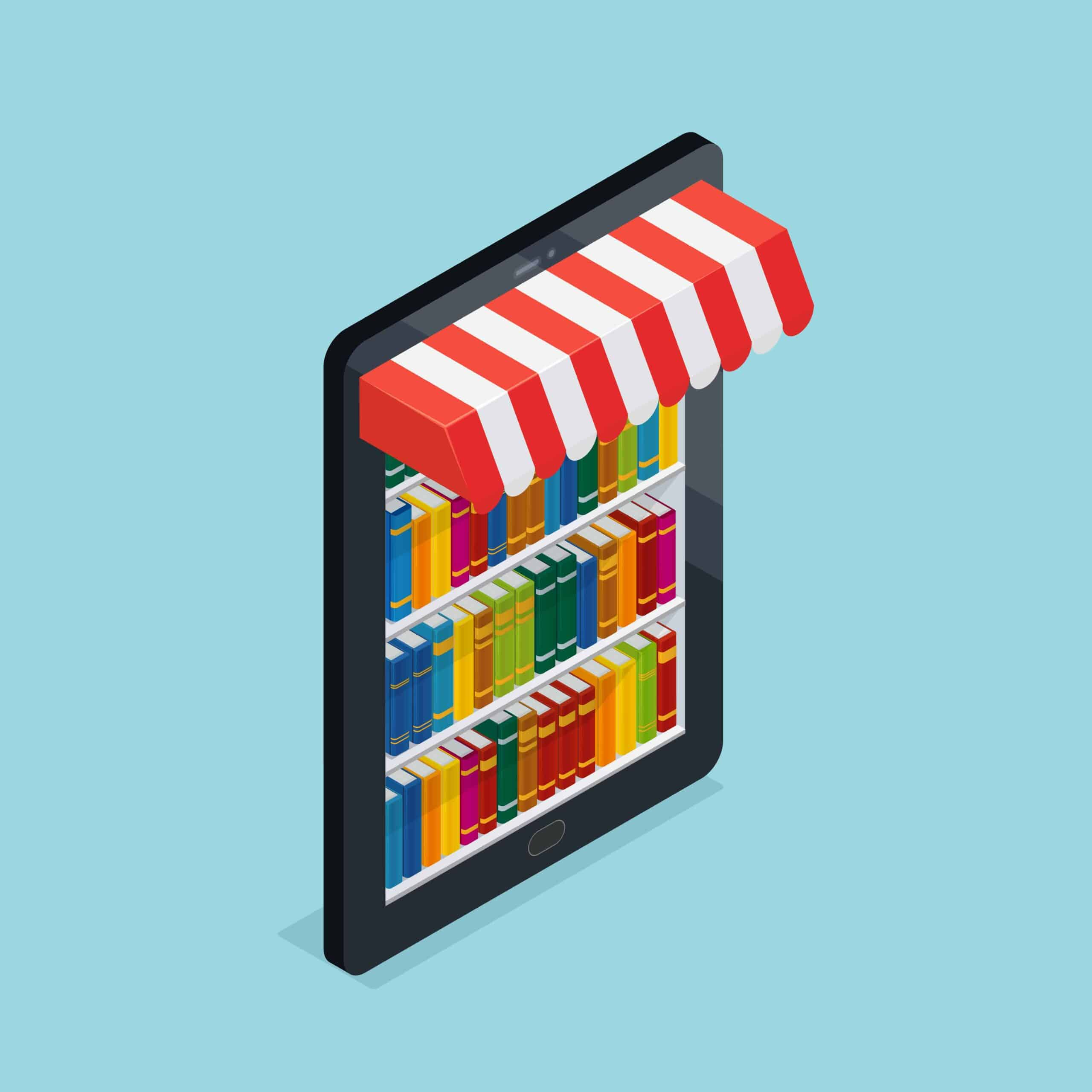 Eshop example with a Bookstore inside a Tablet Screen - eCommerce και eShops