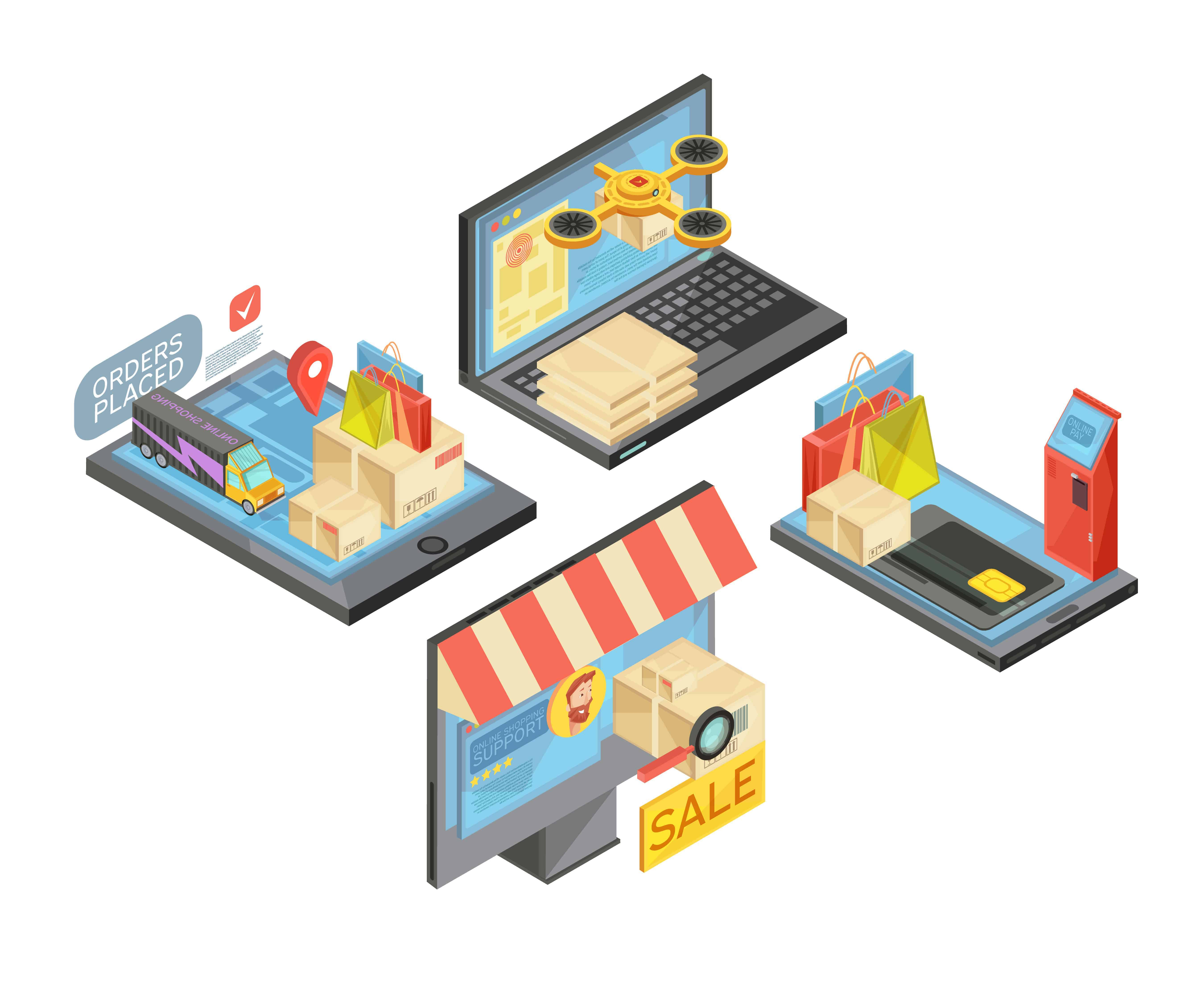 Ecommerce example with diferent types of products on electronic devices