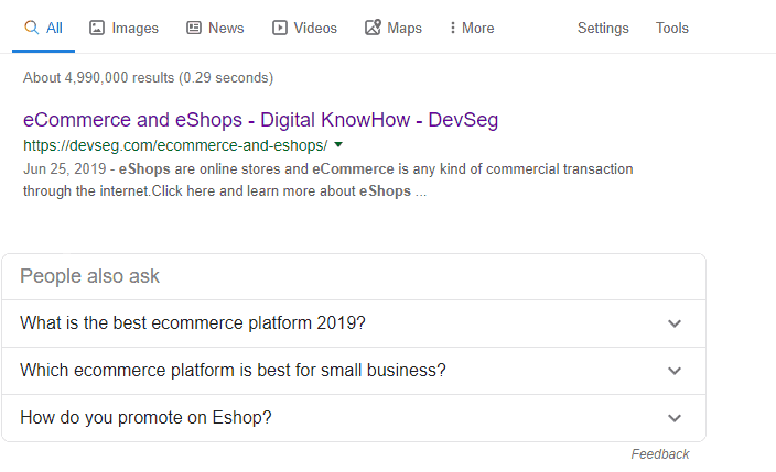 Search engine results placed DevSeg on the first position