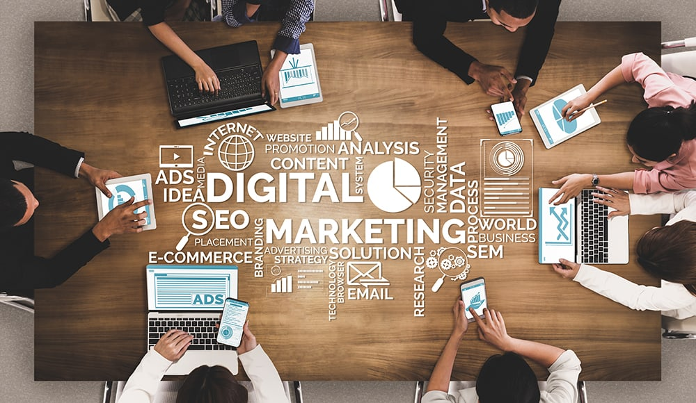 Digital Marketing Team with social media and digital experts