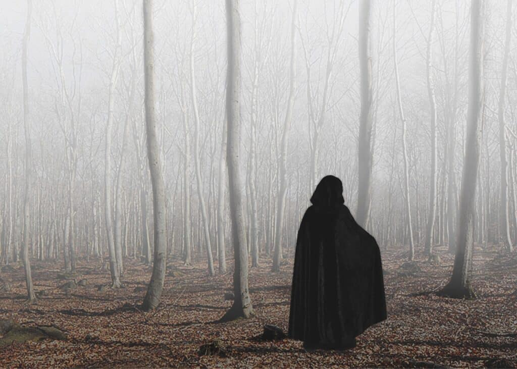 Cloaked figure in woods as an example of cloacked keyword text