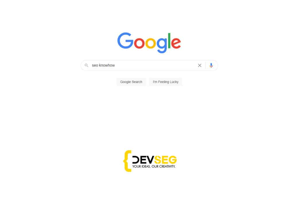 google seo knowhow with devseg logo concept for the new  update of 2021